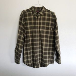 MENS green red and tan flannel button up shirt